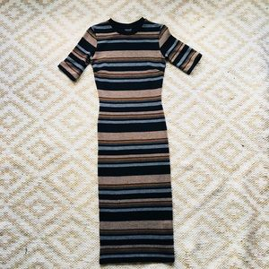 TopShop Striped Midi Body-con Sweater Dress 2